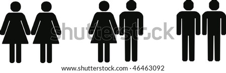 heterosexual, lesbian and gay couples - isolated vector illustration