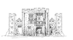 Hever castle, 13th century castle with Tudor manor house, UK.  Sketch collection
