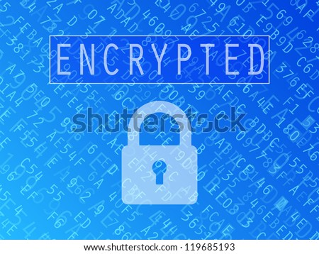 Hexadecimal numbers and letters with padlock symbol and Encrypted text vector background