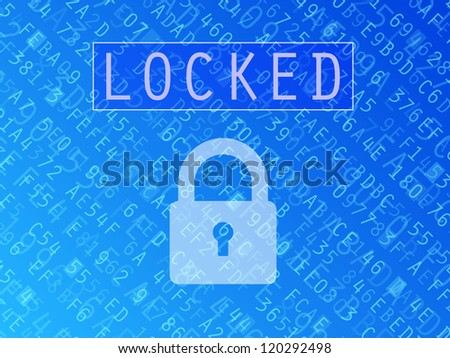 Hexadecimal numbers and letters with padlock symbol and Locked text vector background