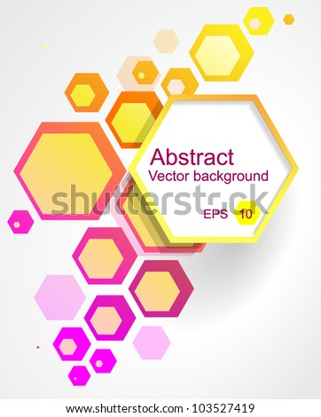 Hexagon abstract colorful background. Vector