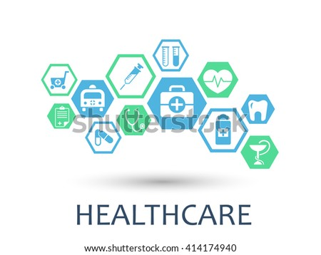 Hexagon abstract. Medicine background with lines, polygons, and integrate flat icons. Infographic concept with medical, strategy, health, healthcare, nurse, DNA, pills connected symbols. Vector.
