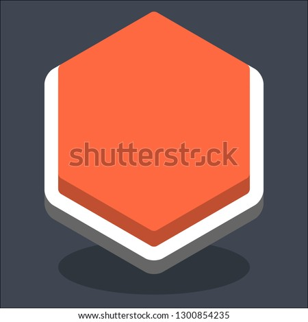 Hexagon button isometric icon. Orange shape with drop shadow on gray background is created in trendy 3D flat style. Inactive variant.The graphic element for design saved as a vector illustration.