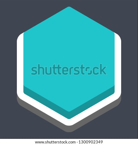 Hexagon button isometric icon. Turquoise shape on gray background is created in trendy 3D flat style. Inactive variant.The graphic element for design saved as a vector illustration.