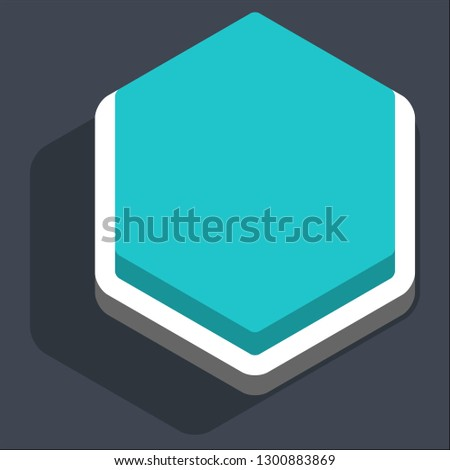 Hexagon button isometric icon. Turquoise shape with drop shadow on gray background is created in trendy 3D flat style. Inactive variant.The graphic element for design saved as a vector illustration.