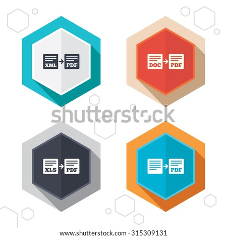 Hexagon buttons. Export file icons. Convert DOC to PDF, XML to PDF symbols. XLS to PDF with arrow sign. Labels with shadow. Vector