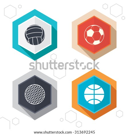 Hexagon buttons. Sport balls icons. Volleyball, Basketball, Soccer and Golf signs. Team sport games. Labels with shadow. Vector