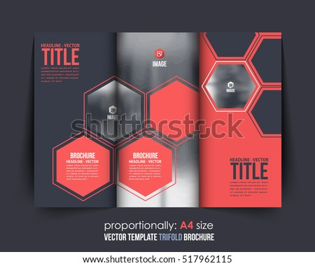 Hexagon Elements A4 Document and Brochure, Vector Background. Corporate Trifold Leaflet, Textbook Cover Design. Image Add Feature, Business and Print Ready Minimal Tri Fold Pamphlet, Booklet Template