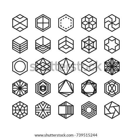 hexagon geometric vector icon , ornament