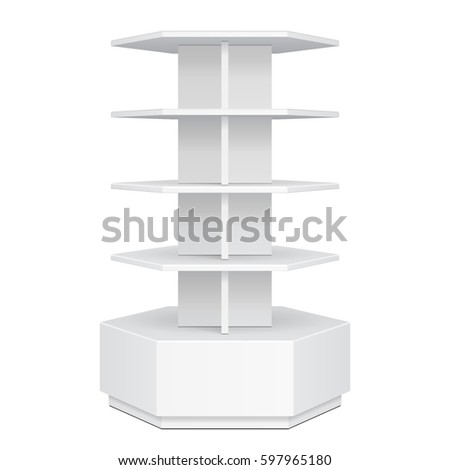 Hexagon, Hexagonal POS POI Cardboard Floor Display Rack For Supermarket Blank Empty. Mock Up. Illustration Isolated On White Background. Ready For Your Design. Product Advertising. Vector EPS10