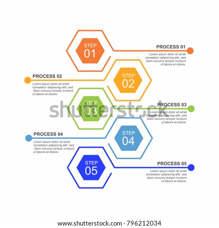 Hexagon infographic template five process or step for business presentation