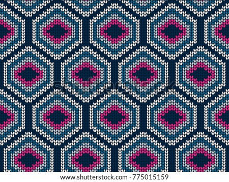 stock-vector-hexagon-knitted-seamless-pattern-for-sweater-geometric-vector-background