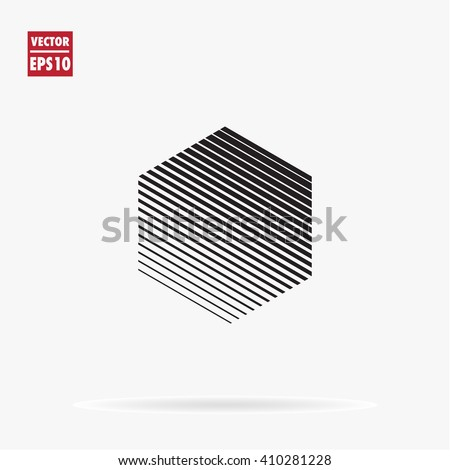 Hexagon logo template. Unusual flat icon. Minimal geometry. White background. Stock vector.
