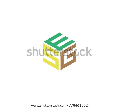 Hexagon logo with ES G letter. Three letter icon Photo stock ©