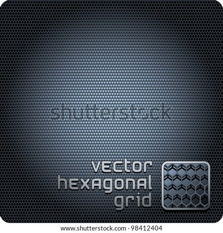 Hexagon metal background with light reflection and shadow.