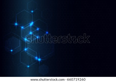 hexagon pattern design and light blue stars abstract tech innovation background as technology and future concept ,vector graphics