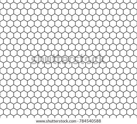 Hexagon seamless pattern. Black line honeycomb repeatable pattern on white background vector.