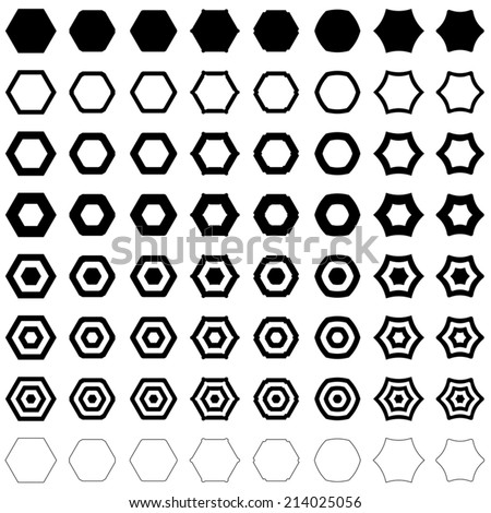 Hexagon set - vector version