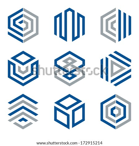hexagon shaped logo design