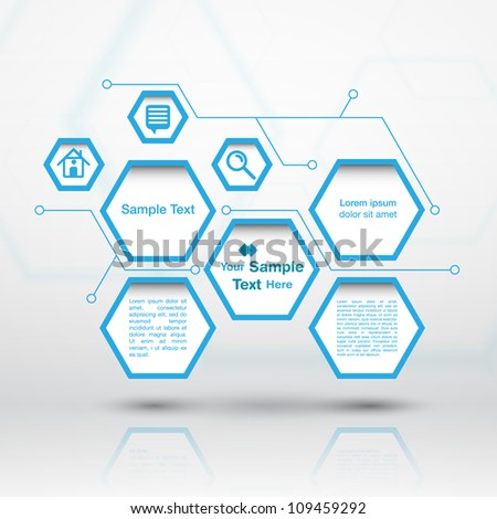 Hexagon web design - stock vector