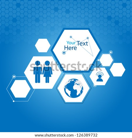 Hexagon web design vector