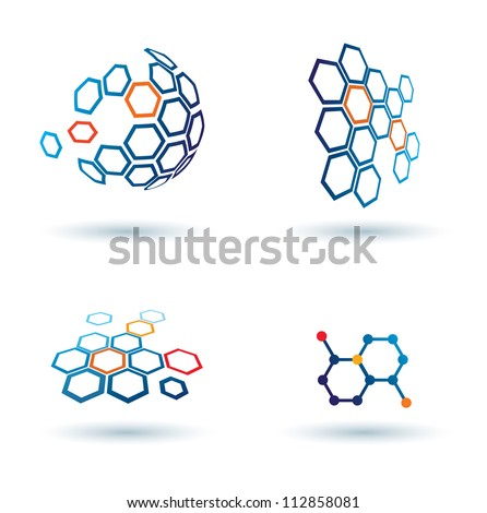 hexagonal abstract icons, business and communication concepts - stock vector