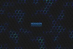 Hexagonal background. Bright blue neon flashes under the hexagon in the lighting technique. Dark honeycomb texture.