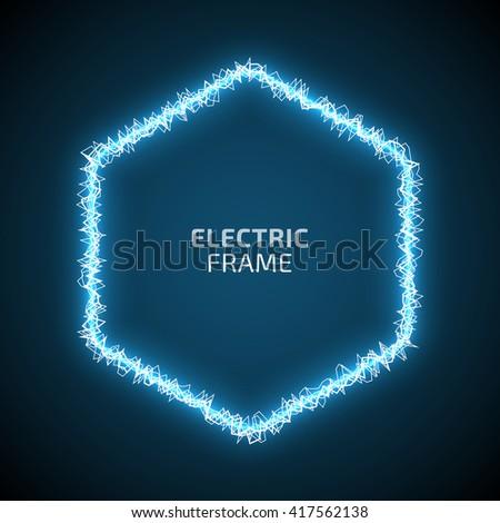hexagonal blue frame of