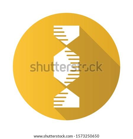 Hexagonal DNA helix yellow flat design long shadow glyph icon. Deoxyribonucleic, nucleic acid. Spiraling strands. Chromosome. Molecular biology. Genetic code. Genetics. Vector silhouette illustration