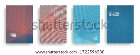 Hexagonal halftone pattern cover pages vector trendy design. Hexagon lines texture backdrops. Annual report templates set. Cover page layouts, flyers, banners with halfton texture.