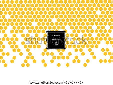 Hexagonal honeycomb pattern for background and sticker with logo. Vector packaging design elements and templates. Honey. Bee. Hexagonal. Honeycomb