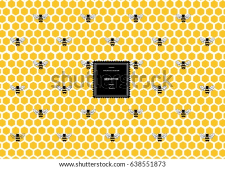 Hexagonal honeycomb pattern with bees for background and sticker with logo. Vector packaging design elements and templates. Honey. Bee.