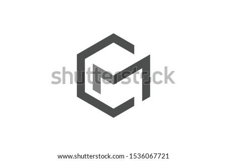 hexagonal logo initial letter C M Stock fotó ©