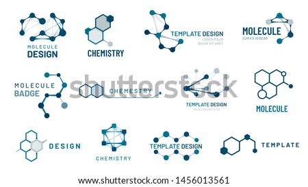 Hexagonal molecule badge. Molecular structure logo, molecular grids and chemistry hexagon molecules templates. Dna macromolecule, science bio code logo. Isolated vector symbols set