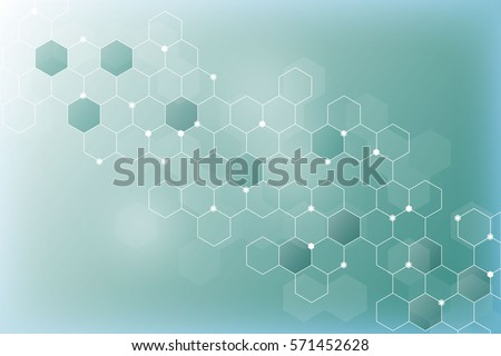 Hexagonal molecules. The molecular structure. Genetic and chemical compounds. Chemistry, medicine, science and technology concept. Geometric abstract background. Atom DNA. Abstract vector background