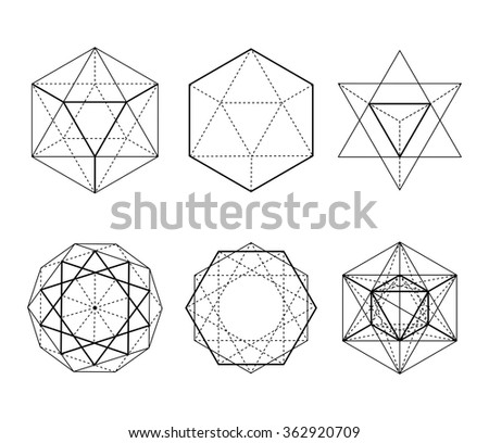Hexagonal shapes set. Crystal forms. Winter design elements. Hexagons vector illustration. On a white background. Drawing. Types of crossings. Geometry. Cryptogram. Sacred Geometry
