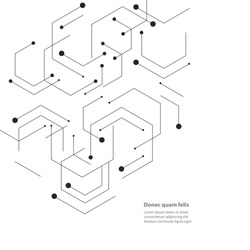 Hexagons genetic, science, chemical carcass. Vector connection and social network. Concept with lines and dots.