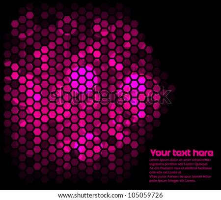 Hexagons lighting with magenta