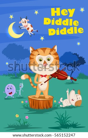 Hey Diddle Diddle, Kids English Nursery Rhymes book illustration in vector Stock photo ©