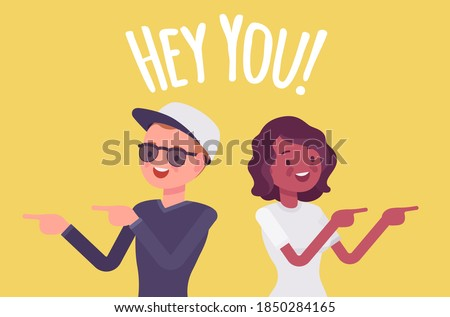 Hey you young people finger pointing to call, attract attention. Man, woman expressing interest, addressing in informal greeting to offer, provide information. Vector flat style cartoon illustration Foto stock ©