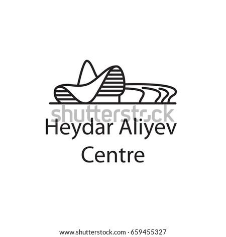 Heydar Aliyev Centre, Baku Landmarks / Icon for map, website or app / Vector illustration of famous buildings / Baku, Azerbaijan