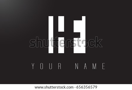 HF Letter Logo With Black and White Letters Negative Space Design.
