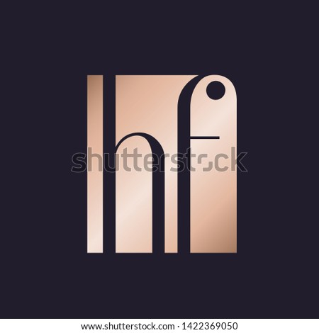 HF monogram.Typographic logo with letter h and letter f.Lowercase lettering icon.Alphabet initials in negative space isolated on dark fund.Rose gold metallic shape.Elegant, beauty, luxury style.