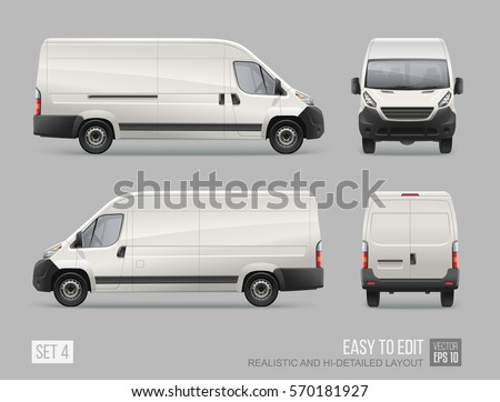 Hi-detailed Cargo Delivery Van vector template. Mockup Template for Branding and Corporate identity design on transport. Realistic White Cargo Van isolated on grey background. Easy to edit layout
