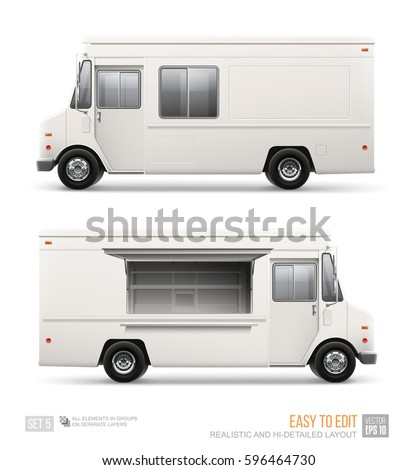 Hi-detailed Food Delivery Truck template isolated on white. Mobile street Cafe vehicle for Brand Identity design and Fast-Food transport advertising.  White USA Food Truck blank surface