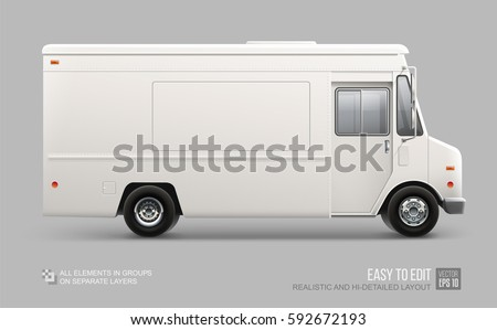Hi-detailed Food Truck isolated on grey. Realistic Fast-food Van template for Mock Up Brand identity design and transport advertising. White Service Delivery Truck blank surface