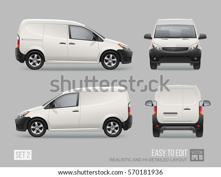 Hi-detailed Freight Car vector template for Mockup Advertising and Corporate identity. Food Delivery Cargo Van vehicle Isolated on grey background. Front, side and back view Realistic Car