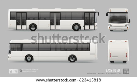 Hi-detailed Long City Bus - Mockup template isolated on grey background. Passenger Bus for Branding identity and advertising design on transport . Blank side view, front, rear Low Floor City Bus
