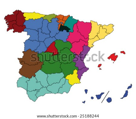 hi detailed map of spain - stock vector