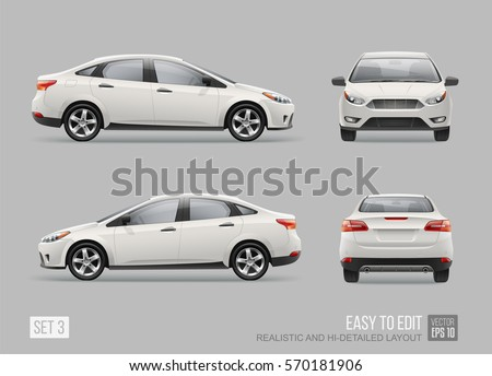 Hi-detailed Realistic Business Car Sedan isolated from grey. Easy to edit layout Corporate Vehicle. Template for branding mockup and corporate identity on transport. Front and back view white car